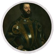 Portrait Of Alfonso D'avalon -  Marquis Of Vasto - In Armor With A Page Round Beach Towel