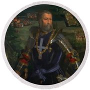 Portrait Of Alfonso I D Este 1530 Round Beach Towel