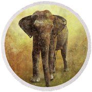 Portrait Of An Elephant Digital Painting With Detailed Texture Round Beach Towel