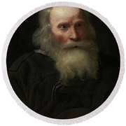 Portrait Of An Old Man Begging By Michael Sweerts Round Beach Towel