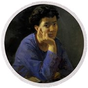 Portrait Of An Unknown Woman In A Blue Blouse Round Beach Towel