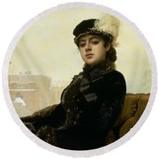 Portrait Of An Unknown Woman Round Beach Towel
