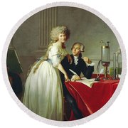 Portrait Of Antoine-laurent Lavoisier And His Wife Round Beach Towel