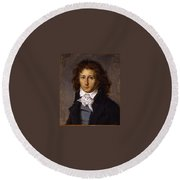 Portrait Of Artist Francois Gerard, Aged 20, Ca 1790 By Antoine-jean Gros. Round Beach Towel