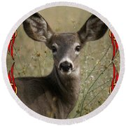 Portrait Of Bambi Round Beach Towel