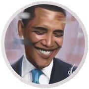 Portrait Of Barack Obama Round Beach Towel