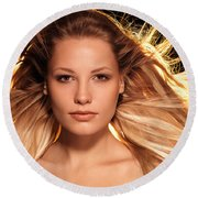 Portrait Of Beautiful Woman Face With Glowing Golden Blond Hair Round Beach Towel