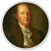 Portrait Of Benjamin Franklin Round Beach Towel