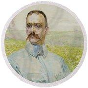 Portrait Of Brigadier Jozef Pilsudski Round Beach Towel