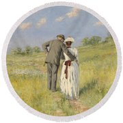 Portrait Of Captain William Holmes And Mary Shafter Mckitterick Round Beach Towel