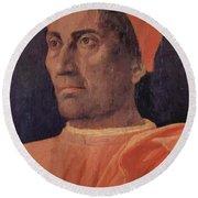 Portrait Of Cardinal Carlo De Medici 1466 Round Beach Towel