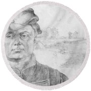 Portrait Of Caspar Tower And A River Landscape 1520 Round Beach Towel
