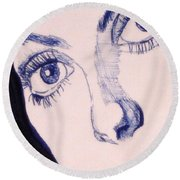 Portrait Of Catherine Close Up Details Round Beach Towel