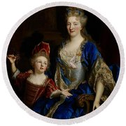 Portrait Of Catherine Coustard Round Beach Towel by Nicolas de Largilliere