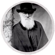 Portrait Of Charles Darwin Round Beach Towel