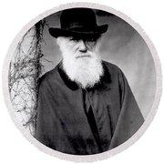 Portrait Of Charles Darwin Round Beach Towel by Julia Margaret Cameron