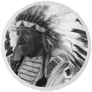 Portrait Of Chief Red Cloud Round Beach Towel