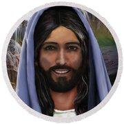 Portrait Of Christ Round Beach Towel