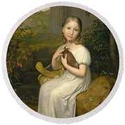 Portrait Of Countess Louise Bose As A Child Round Beach Towel
