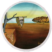 Portrait Of Dali The Persistence Of Memory Round Beach Towel