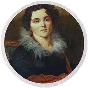 Portrait Of Darya Nikolaevna Chvostova 1814 Round Beach Towel