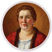 Portrait Of Ekaterina Ivanovna Kogan Round Beach Towel