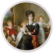 Portrait Of Elizabeth Lea And Her Children Round Beach Towel