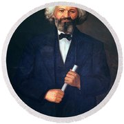 Portrait Of Frederick Douglass Round Beach Towel