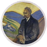 Portrait Of Friedrich Nietzsche Round Beach Towel