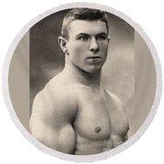 Portrait Of George Hackenschmidt Round Beach Towel