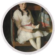 Portrait Of Gertrude Russell Round Beach Towel