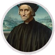 Portrait Of Girolamo Benivieni Round Beach Towel