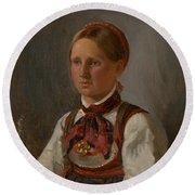 Portrait Of Gunild Olsdatter From Tinn Round Beach Towel