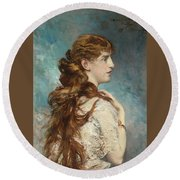 Portrait Of Harriet Valentine Round Beach Towel
