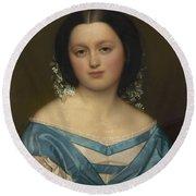 Portrait Of Henriette Mayer Van Den Bergh, At And By Jozef Van Lerius Round Beach Towel