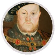 Portrait Of Henry Viii Round Beach Towel
