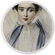 Portrait Of Her Majesty Queen Victoria As A Young Woman By Emile Desmaisons Round Beach Towel