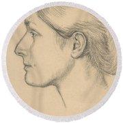 Portrait Of Hortense Valpincon Round Beach Towel by Edgar Degas