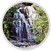 Portrait Of Houston Brook Falls Round Beach Towel