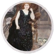 Portrait Of Jane Hading , Alfred Roll Round Beach Towel