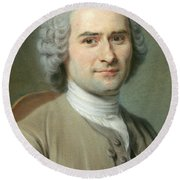 Portrait Of Jean Jacques Rousseau Round Beach Towel