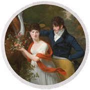 Portrait Of Jean-louis Gustave D'hautefort And His Sister Marie-therese-thais D'hautefort Round Beach Towel