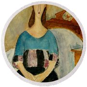 Portrait Of Jeanne Hebuterne Round Beach Towel by Amedeo Modigliani