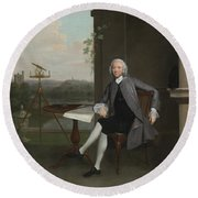 Portrait Of Jonas Hanway Round Beach Towel