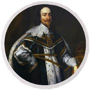 Portrait Of King Charles I After Van Dyck Round Beach Towel