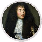 Portrait Of Louis Xiv Round Beach Towel