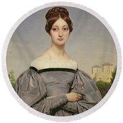 Portrait Of Louise Vernet Round Beach Towel
