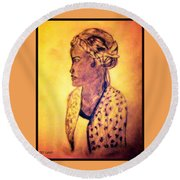 Portrait Of Lovely African Woman Round Beach Towel