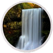 Portrait Of Lower South Falls Round Beach Towel