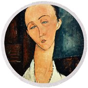 Portrait Of Lunia Czechowska Round Beach Towel by Amedeo Modigliani